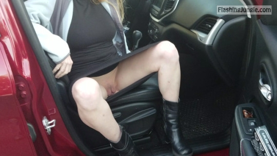 Pale skin wife stepping out of the car pantyless upskirt pussy flash public flashing no panties milf pics mature