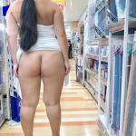 Chubby hotwife bottomless in shop