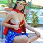 One boob out in red blue costume FTV girl
