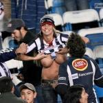 Flashing big tits on stadium