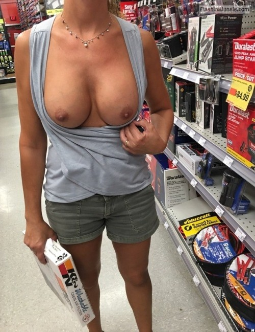 Public Flashing Pics - Round firm boobs out at the store