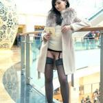 All dolled up Jeny Smith without panties at shopping mall