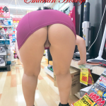 Tight MILF cunt and thick ass under purple mini dress at store