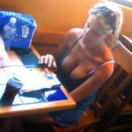 Sexy blonde big tits downbouse at restaurant