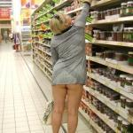 Mature underbutt – pantyless woman upskirt at supermarket