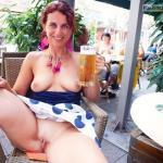 German slutwife pussy and boobs exposed while drinking beer