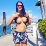Woodsman wife flashing big round tits on vacation