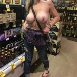 Big bare tits at supermarket – Blond topless wife flashing tits