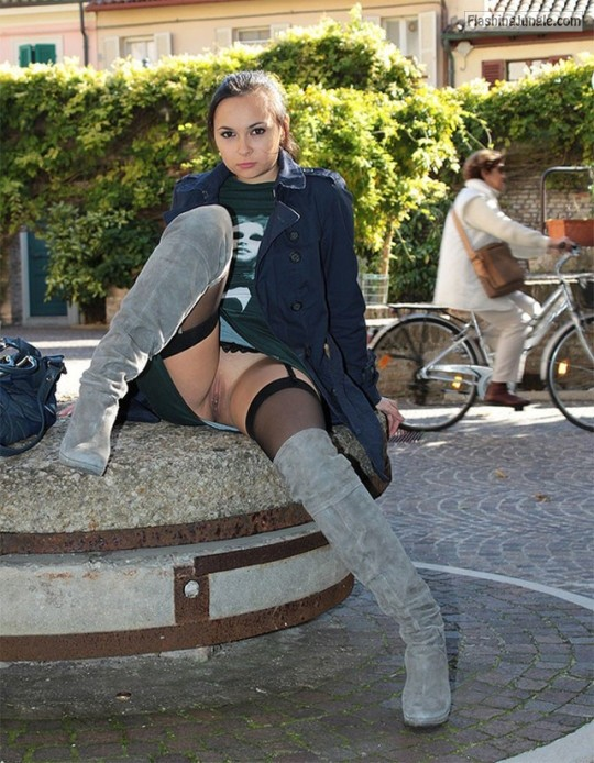 Grey boots stockings long coat skirt but no panties pussy flash public nudity
