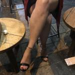 Bare legs of friend's wife