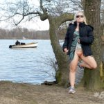 Blond cougar flashing cunt by the lake