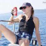 Pussy slip on a boat while drinking beer