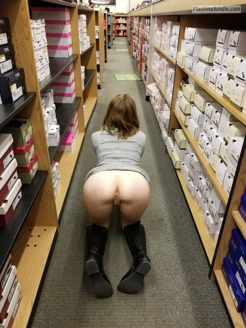Pantyless wife on all four at the store exposed to take cock right now public nudity