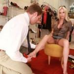 My blonde luxury hotwife is pantieless at shoe store