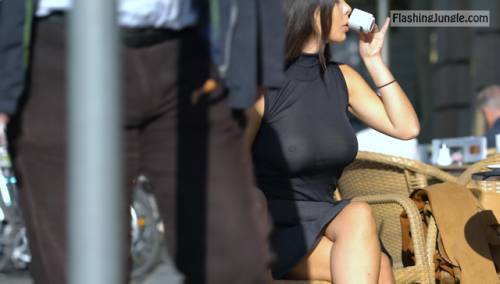 Luxury wife nipples under black dress while drinking coffee