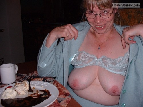 ancientmariner44:Reba's tits out in a restaurant. public flashing