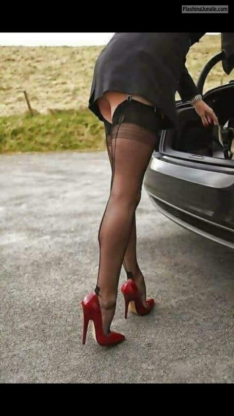 "ffcubanheel: Perfectly sexy and classy FF Cuban heel stockings and 6"" red high heel pumps ?❤️?????? public flashing"