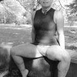 No panties as usual. Too hot in the park.