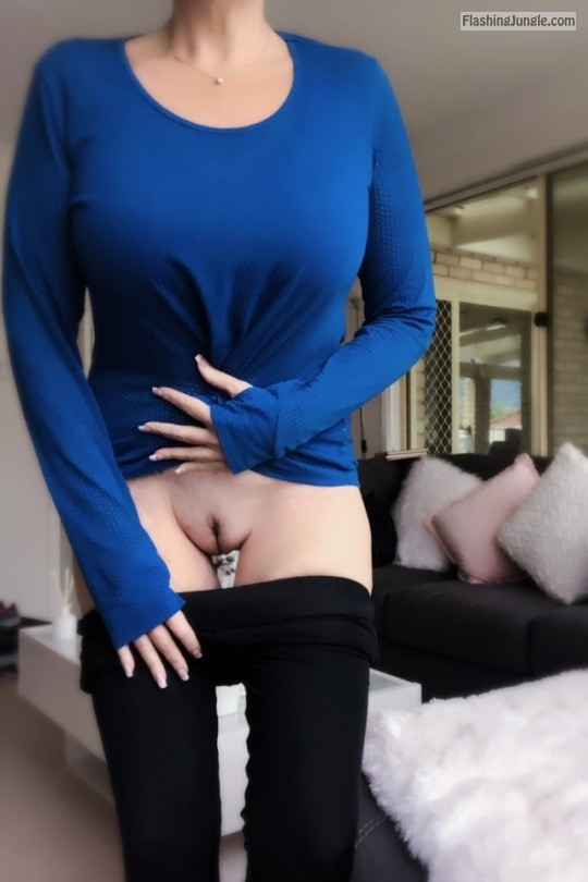 Slim busty wife in blue blouse flashing delicious cunt before workout no panties
