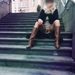 Sitting pantyless on public stairs – Fashion style