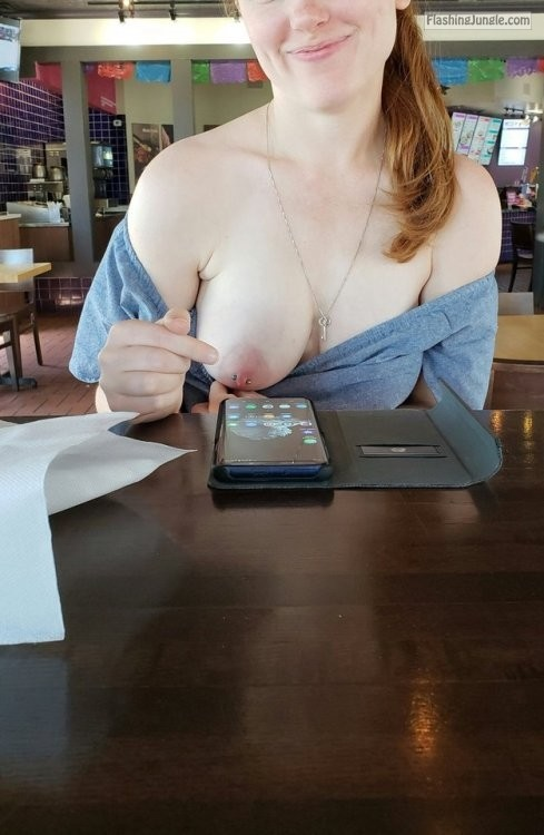 Redhead GF was kind enough to show me her boob at restaurant boobs flash