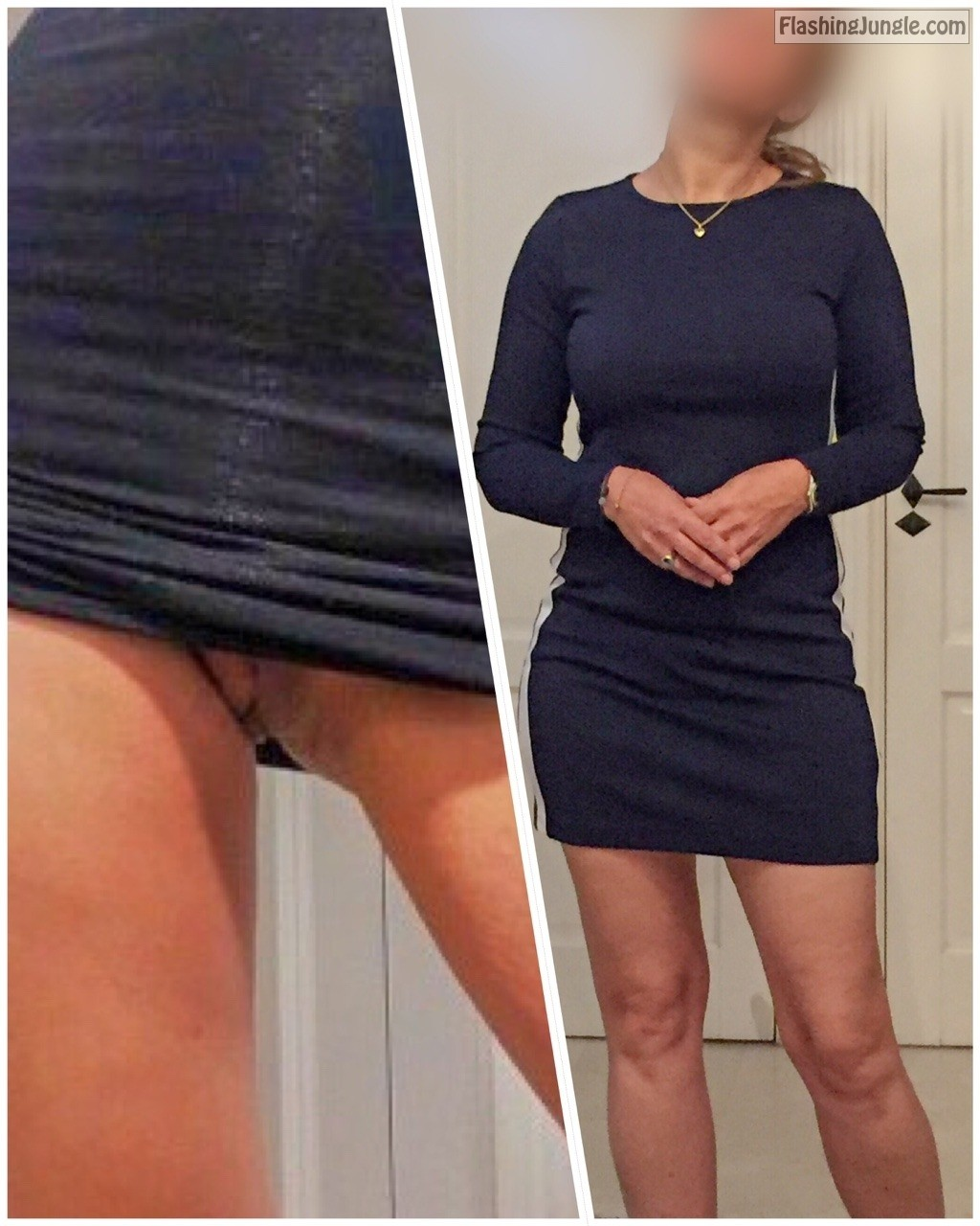 jackandjillat40: So the decision on what to wear today is final. Short dress. The sheer bra to... no panties