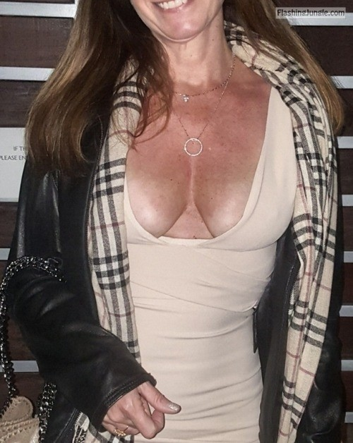 nippelalarm:My wife likes to go braless in front of my friends.... public flashing