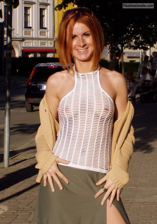 minimal outfit: A nice white top... public flashing