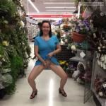 Pantie less MILF flower shop masturbating