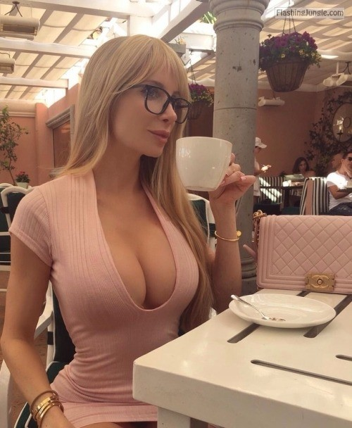 Very hot busty blonde with nerdy glasses drinking coffee upskirt boobs flash