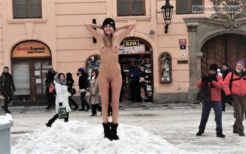 Funny Wintertime public nudity