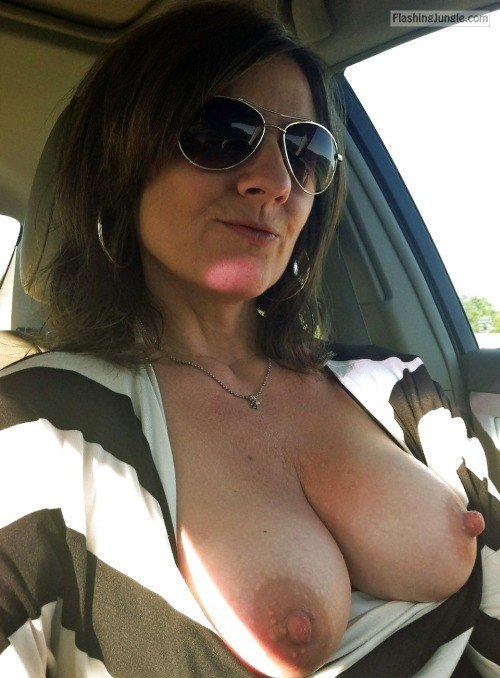 Sunglasses Boobs out driving car public flashing milf pics boobs flash