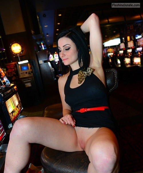 Dark haired wife pantyless gambling upskirt pussy flash public flashing no panties milf pics howife bitch