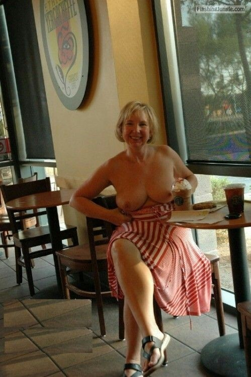 Chubby blonde MILF boobs out fun public flashing milf pics howife boobs flash