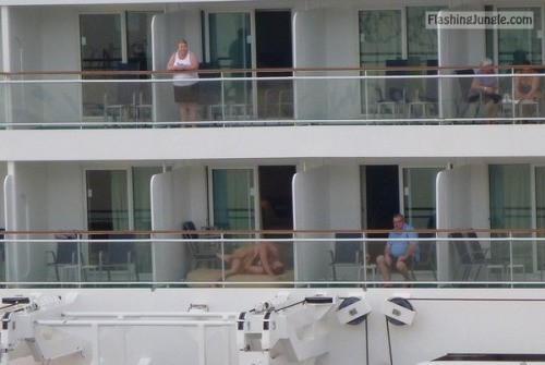 Caught fucking on balcony voyeur public sex