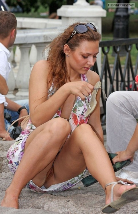 pantyless redhead caught without panties voyeur upskirt pussy flash public flashing no panties