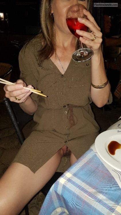 Andrea in Chinese restaurant: No underwear while drink wine upskirt pussy flash public flashing no panties milf pics