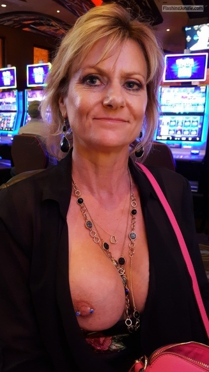 Nipple piercing show off casino public flashing milf pics mature boobs flash bitch