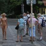 Teen blonde naked on street for tourists
