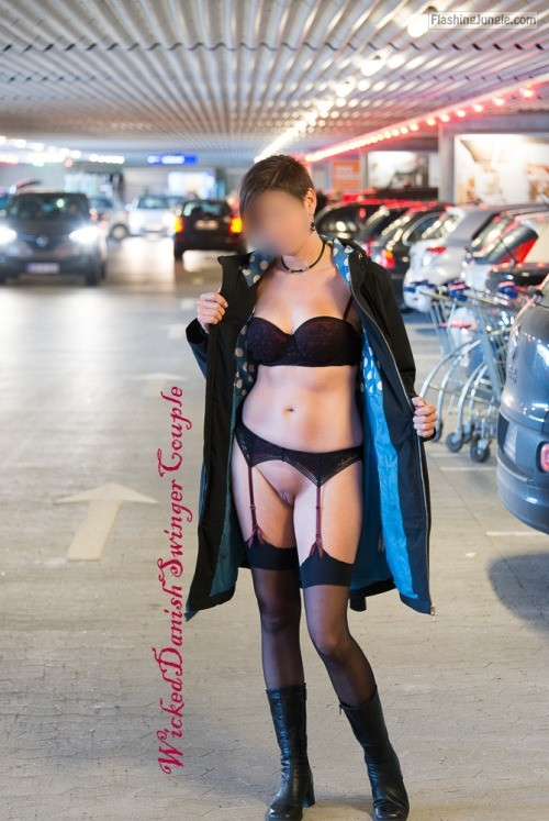 Danish wife in garage: Sexy underwear without panties public flashing no panties howife
