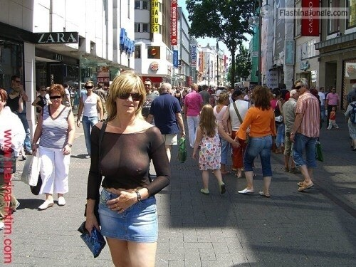 Big breasted blonde MILF see through blouse and mini skirt public flashing milf pics howife boobs flash