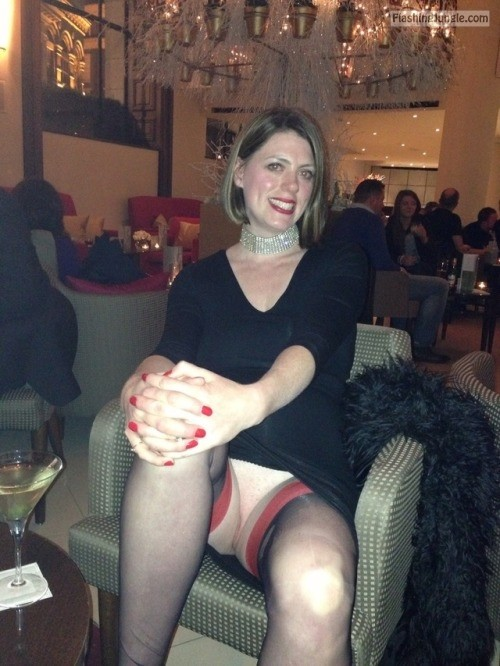 Pantyless smiling Milf red nails, red lipstick, red garters upskirt pussy flash public flashing no panties milf pics mature howife bitch