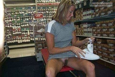 Hairy pussy of blonde MILF in shoe store upskirt pussy flash public flashing no panties milf pics flashing store