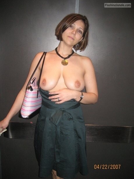 Goddess wife night outing topless elevator public flashing milf pics howife boobs flash