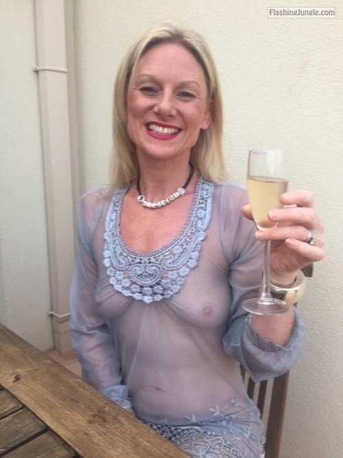 Sexy granny cheers in see through dress mature boobs flash