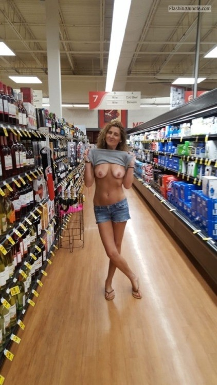 Flashing tan lines and saggy tits at supermarket public flashing milf pics flashing store boobs flash