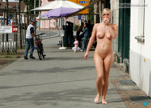 Naked blonde Sneaking food out from the dining hall voyeur public nudity
