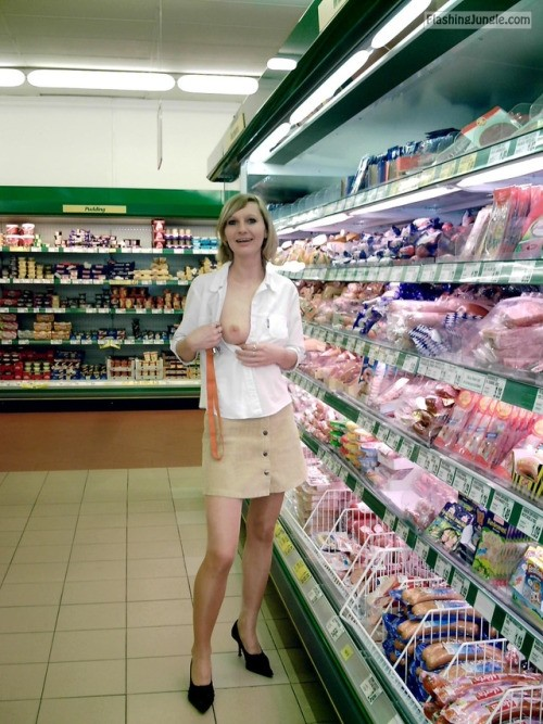 Tall wife cute boob out at supermarket public flashing flashing store boobs flash