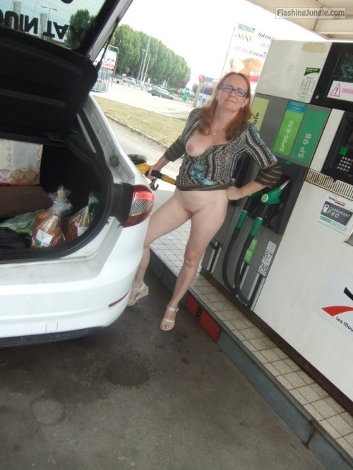 Mature redhead with glasses at gas station pussy flash public flashing no panties milf pics mature boobs flash