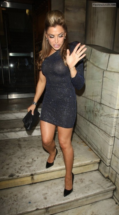 Celeb Louise Glover tits see through dress voyeur public flashing boobs flash